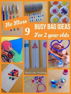 No Mess Busy Bag Ideas for 2 Year Olds. Great for occupying older siblings when the newborn arrives.