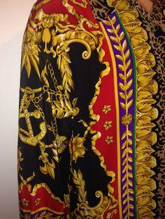 Vintage GOLD FILIGREE cherub horse print 100% SILK Shirt
