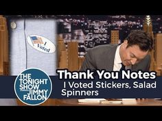 Thank You Notes: I Voted Stickers, Salad Spinners - YouTube Jimmy Fallon Videos, Vote Sticker, I Voted, Thank You Notes, Salad, Stickers, Youtube, Salads, Lettuce