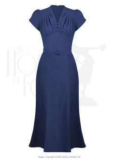 Retro Wiggle Dress 1940s style in Navy