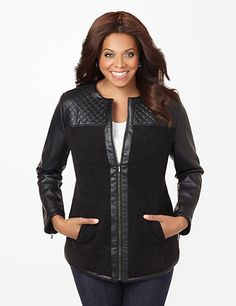 Quilted Fitzgerald Jacket: The beauty of contrast is elegantly laid out in the craftsmanship of our timeless, streamlined jacket. Subtle faux leather paired with textured boucle yarn creates an elevated interest around this fashion-forward layer. Zip front. Long sleeves with zip cuffs. Waist pockets. Polyester lining. Catherines jackets are styled exclusively for the plus size woman. catherines.com #catherines #plussizefashion #fallstyle #plussizejacket