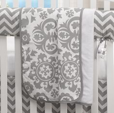 Gray Suzani Receiving Blanket | Liz and Roo Fine Baby Bedding. Pretty gender neutral blanket for your baby boy or girl.