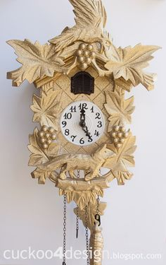 Rustoleum Gold Glitter painted cuckoo clock for a little girl's room by Cuckoo 4 Design