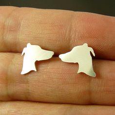 Greyhound : Silver Sterling 925, studs, earrings, handmade, greyhound, dog