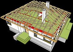 Projekt domu Flo II 112,34 m2 - koszt budowy 209 tys. zł - EXTRADOM Timber Roof, Roof Detail, Construction, Frame, House, Kitchen, Rooftops, Model, Angled Ceilings