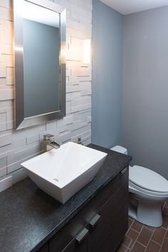 Contemporary Powder Room with Paint, Flush, Paint 1, full backsplash, Wall sconce, Vessel sink, Powder room, Subway Tile