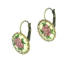 Gorgeous vintage hanging earrings, Embellished with classic pink rose design. Antic patina, romantic style. by zazaofcanada. Explore more products on http://zazaofcanada.etsy.com
