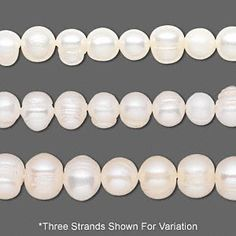 Pearl, cultured freshwater (bleached), white, 6mm semi-round, D grade, Mohs hardness 2-1/2 to 4. Sold per 14-inch strand.