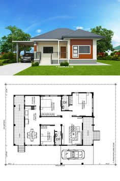 Miranda is an elevated 3 bedroom with 2 bathroom modern house with a total floor area of 162 square meters. The minimum lot area is 300 square meters with at Modern Bungalow House Plans, Small Modern House Plans, Best Modern House Design, Beautiful House Plans, Small House Design, Bungalow Floor Plans, Small House Layout, House Layout Plans, My House Plans