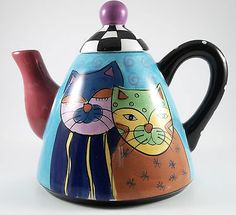 Whimsical and Colorful Cat Teapot Hand Painted by Milson & Louis