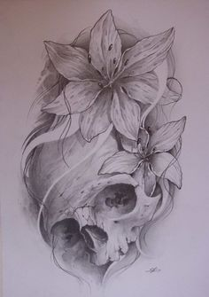 Skull tattoo..!!! The flowers but with a sugar skull tattoo