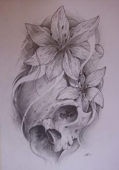 Skull tattoo..!!! The flowers but with a sugar skull tattoo. Loving if
