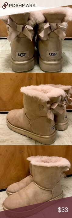 Ugg boots bailey bow size 7 cute and cozy Hey guys! I bought this on UGG's online store. So it is definitely authentic. They keep your feet so warm and dry during the annoying snowy days. The bow is sooo cute and I got a bunch of compliments first time wearing it! I'm selling them because I'm moving to somewhere warmer. I've been using them for about two weeks and they are still in great shape, despite that I no longer have the original box with me. Please feel free to DM me if you have any…