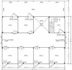 Good floor plan.  Barn Pros - Denali 48C Series - 6 stall barn with wash and tax plus hayloft