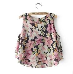 2016 Women's Summer Chiffon Blouse Fashion Floral Printed Tops Sleeveless Vest Vestidos Quality Top Size M-XXL Free Shipping