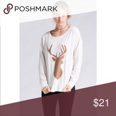 Deer 🦌 Front Pull Over Top Faux leather deer front long sleeve top with crew neck. Ivory. Super cute and comfy. Goes great with the red plaid leggings also listed 😉 65% POLYESTER 35% COTTON. Style En Rose' Tops Tees - Long Sleeve