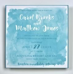 Watercolor wedding invitation from Lemon Tree Stationery. Customize yours with Paper Passionista. Watercolor Wedding Invitations, Bar Mitzvah, Reception, Stationery, Marriage, Lemon, Blush, Contemporary, Paper