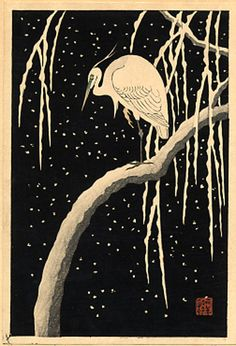 early 1930's - Shōson, Ohara -Egret on a Snow-covered Willow Tree at Night