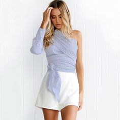 Cheap blusa top, Buy Quality blouse shirt women directly from China shirt women Suppliers: One shoulder Off Bandage Slim blouse shirt women tops 2017 Summer Casual blue striped shirt Long sleeve cool blouse blusas Tops