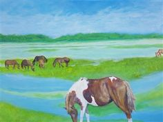Chincoteague Ponies<br />Acrylic on Canvas, Paintings