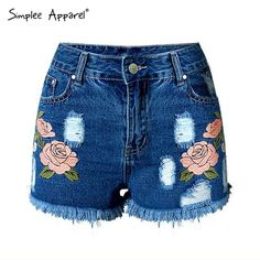 Simplee Apparel Casual beach high waist shorts Sexy hole fringe denim shorts women summer floral embroidery jeans shorts