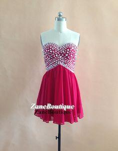 Beading Sweetheart Short Prom Dress, Knee Length Simple Chiffon Prom Dress, Beaded Chiffon Prom Dress Homecoming Dress on Etsy, $93.00