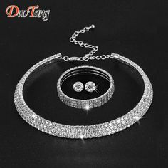 DuoTang Hot Selling  Rhinestone Crystal Choker Necklace Earrings and Bracelet Wedding Jewelry Sets Wedding Accessories T0035B1 *** Clicking on the VISIT button will lead you to find similar product