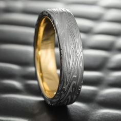Flat Damascus Steel Mens Wedding Band with 14K Gold Liner 7mm Wide Ring | ORGANIC WOOD