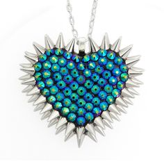 'Xirius' Spiked & Pavèd Heart Necklace in Dragonfly