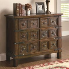 Accent Cabinets Rustic Brown Accent Cabinet with 6 Drawers
