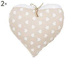 Coppia di cuscini arredo a cuore misto cotone Mila - 38x38 cm