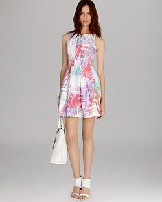 KAREN MILLEN Dress - Palm Print Collection Skater | Bloomingdale's