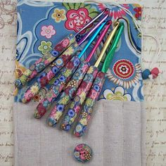 Crochet Hook Case with Polymer Clay Covered #Crochet Hooks, by Polymer Clay Shed, via Flickr. #polymerclay