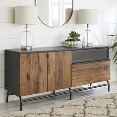 Better Homes & Gardens Lindon Place Entertainment Credenza, Vintage Oak Finish Size: for TVs up to 60 inch, Bronze Tv Credenza, Credenza Decor, Rustic Sideboard, Sideboard Buffet, Buffet Cabinet, Console Table, Industrial Tv Stand, Industrial Metal, Industrial Style