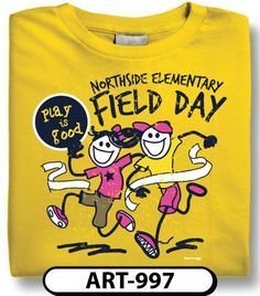 Play is Good! Outfit your students in this fun custom design. Give us a call to get started on your custom t-shirt design for Field Day!