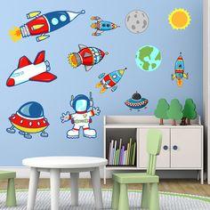 Stickers pour enfants: Space. Planètes, astronaute et fusées. Kit Stickers pour enfants. #stickersmuraux #decoration #motifs #mosaïque #espacio #fusées #nvolaille #WebStickersMuraux