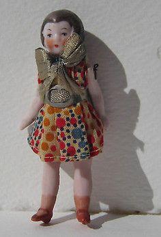 "Antique 1920s Miniature Dollhouse German Bisque Flapper Doll Girl Org Costume 3"""