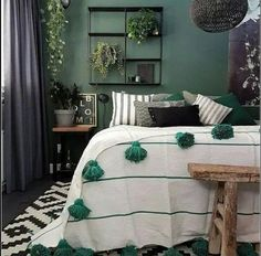 bedroom decor diy Beautiful Moroccan Pom Pom Blanket, Moroccan Throw Blanket, Pompom Blanket, livingroom blanket,Bed Cover White with Green Stripes Bedroom Green, Green Rooms, Warm Bedroom Colors, Bedroom Color Schemes, Bedroom Inspo, Home Decor Bedroom, Bedroom Furniture, Bedroom Ideas, Dark Furniture
