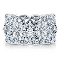 Shop for Annello by Kobelli White Gold TDW Diamond Antique Filigree Wide Anniversary Ring. Get free delivery On EVERYTHING* Overstock - Your Online Jewelry Destination! Get in rewards with Club O! Affordable Diamond Rings, Bridal Ring Sets, Filigree Design, Gold Filigree, Anniversary Bands, Vintage Anniversary Rings, Diamond Anniversary, Wedding Anniversary, Vintage Diamond