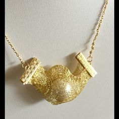 JewelryByShari Jewelry - Beautiful Gold Mesh, Faux Pearl, 18K gold Necklace