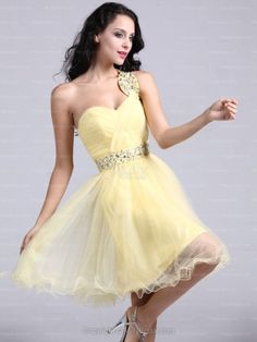 A-line One Shoulder,Homecoming Dress