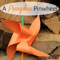 These simple pumpkin pinwheels are great Halloween crafts for kids! When they spin around in the wind they look like real pumpkins!