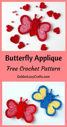 Crochet Butterfly Applique, Free Crochet Pattern - GoldenLucyCrafts Learn how to make this beautiful heart-shaped crochet butterfly applique! Free pattern, easy crochet project, perfect for any embellishment or scrapbooking. Crochet Butterfly Free Pattern, Crochet Applique Patterns Free, Crochet Flower Patterns, Crochet Designs, Crochet Flowers, Crochet Appliques, Crochet Hearts, Beginner Crochet Projects, Crochet Patterns For Beginners