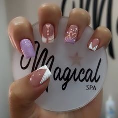 Nail Art Designs Videos, Short Nail Designs, Cute Nail Designs, Beautiful Nail Art, Gorgeous Nails, Lilac Nails With Glitter, Best Acrylic Nails, Nail Decorations, Short Nails