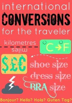 Central source for international conversions: bra size, shoe size, temperature, timezones, measurement, currency, etc.