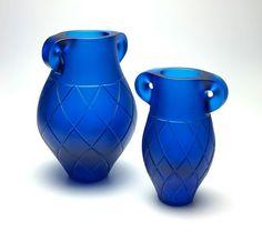 Kupenga vases by Mike Crawford 2015 (cast aquamarine Gaffer glass )