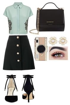 """Untitled #239"" by zaicute on Polyvore featuring Jaeger, Miu Miu, Nine West, Givenchy and Kate Spade"