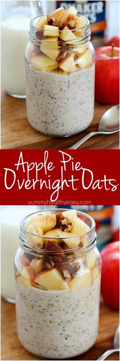 Apple Pie Overnight Oats ~ easily make it in a mason jar the night before and wake up to breakfast in the morning...no cooking required, and you'll love the apple pie flavor in this oatmeal!