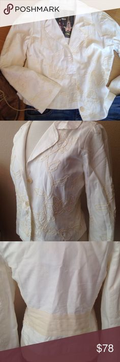 NWOT Johnny Was/ Biya Cream on cream crop blazer NWOT From the fabulous Johnny Was/ Biya this adorable crop blazer has delicate cream ribbons laced throughout. Button front. Cream detail band across the back. Size small. Only reasonable offers please. Johnny Was Jackets & Coats Blazers