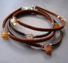 How To Make Leather Jewelry Tutorials - The Beading Gem's Journal. Simple but in combination of several bracelets, this is a great design.